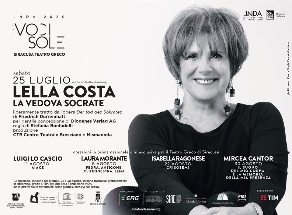 Lella Costa al Teatro Greco di Siracusa con La vedova Socrate