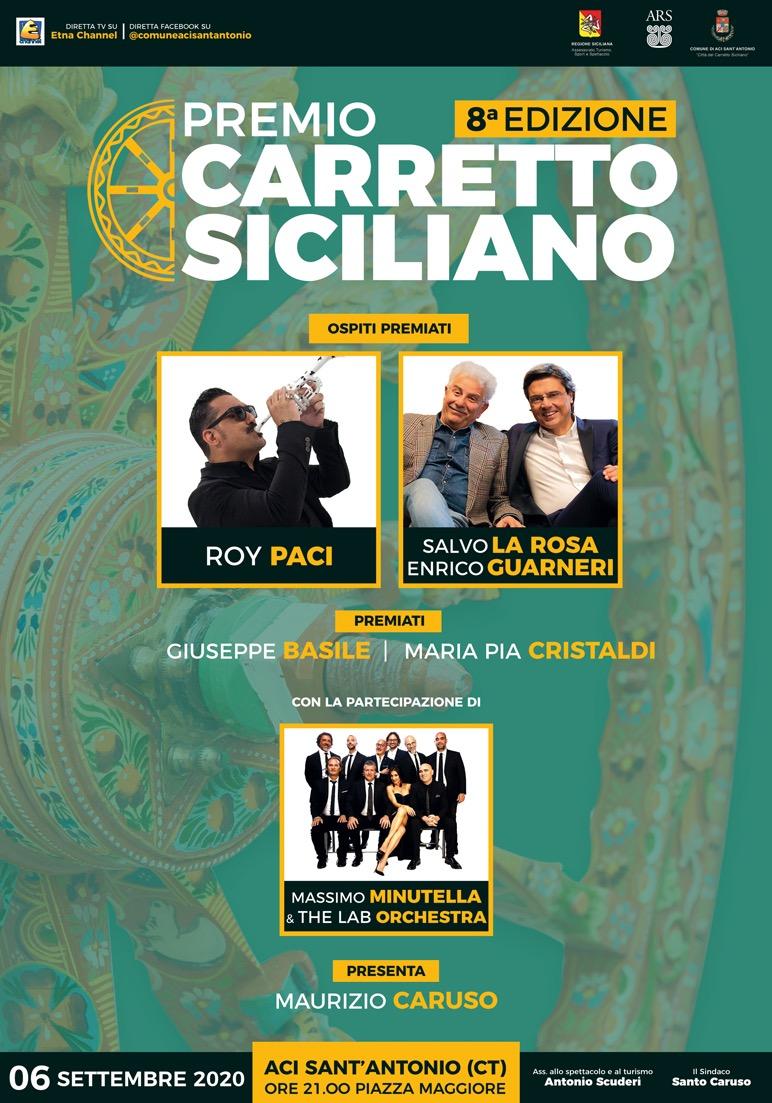 Al via l'ottava edizione del Premio Carretto Siciliano. Ospiti: Enrico Guarneri, Salvo La Rosa e Roy Paci